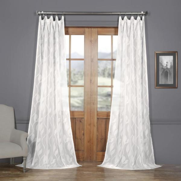 Avignon Vine OffWhite Patterned Linen Sheer Curtain - 50 in. W x 96 in. L