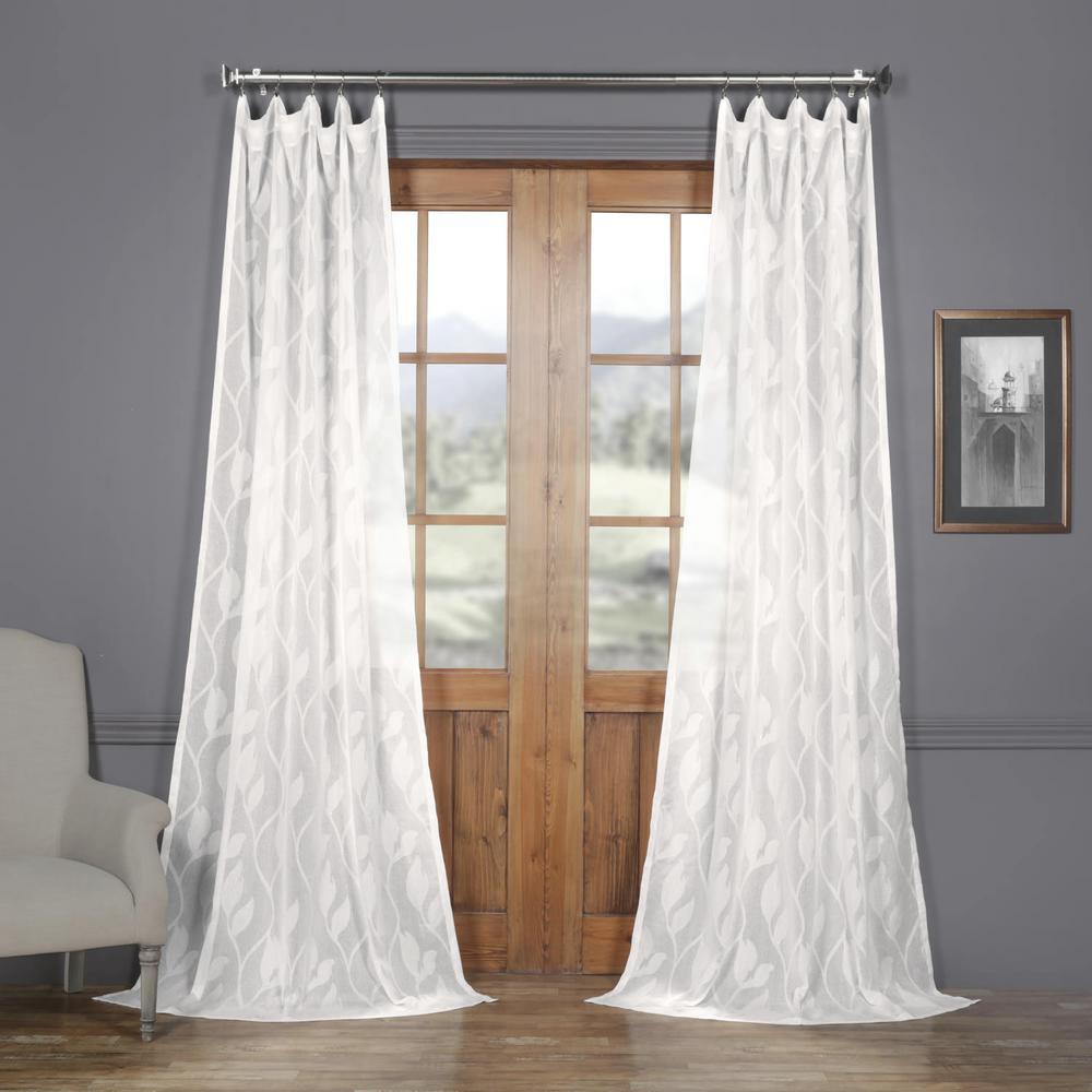 Avignon Vine Offwhite Patterned Linen Sheer Curtain 50 In W X 96 L