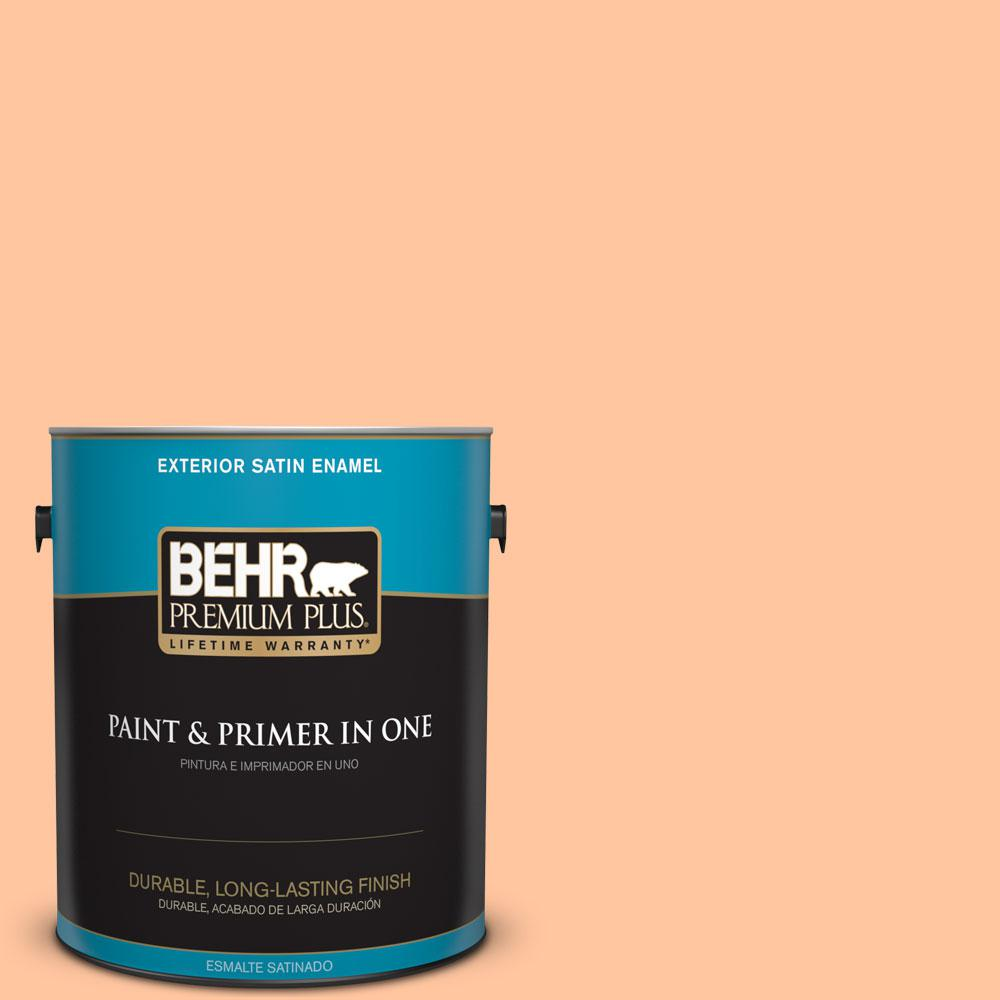 BEHR Premium Plus 1-gal. #260B-4 Orange Sherbet Satin Enamel Exterior Paint