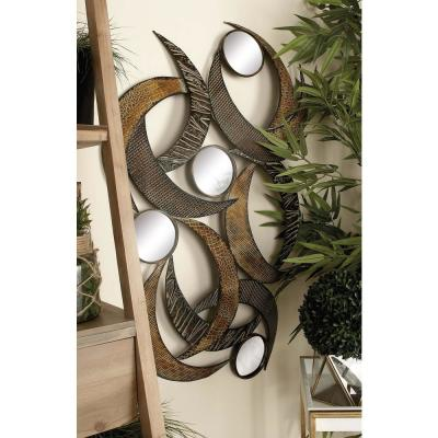 24 in. x 40 in. Contemporary Beige Abstract Crescent Metal Wall Sculpture