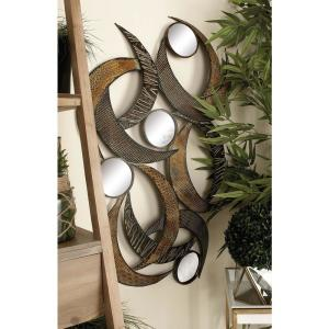 24 inch x 40 inch Contemporary Beige Abstract Crescent Metal Wall Sculpture by