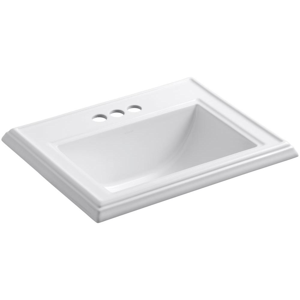 Memoirs Classic Drop-In Vitreous China Bathroom Sink in White with Overflow