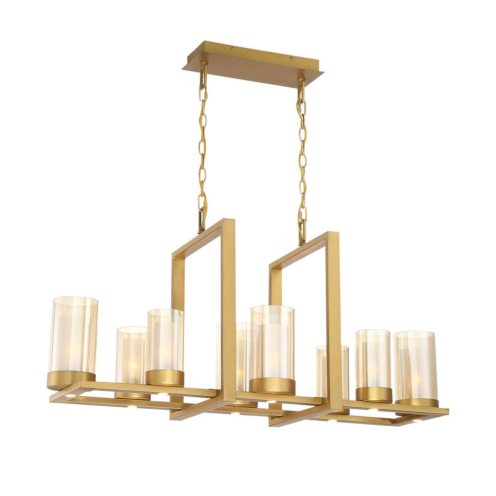 Home Decorators Collection Samantha 60-Watt 8-Light LED Brass Chandelier with Clear and Frosted Shades