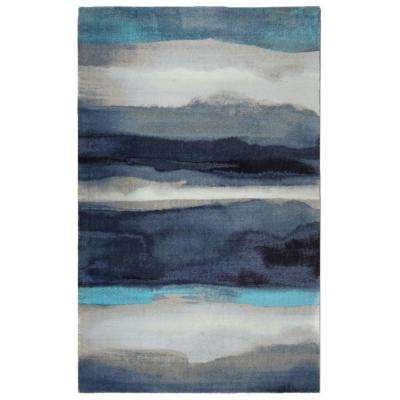 Canvas Contemporary Modern Blue 5 ft. x 7 ft. Area Rug