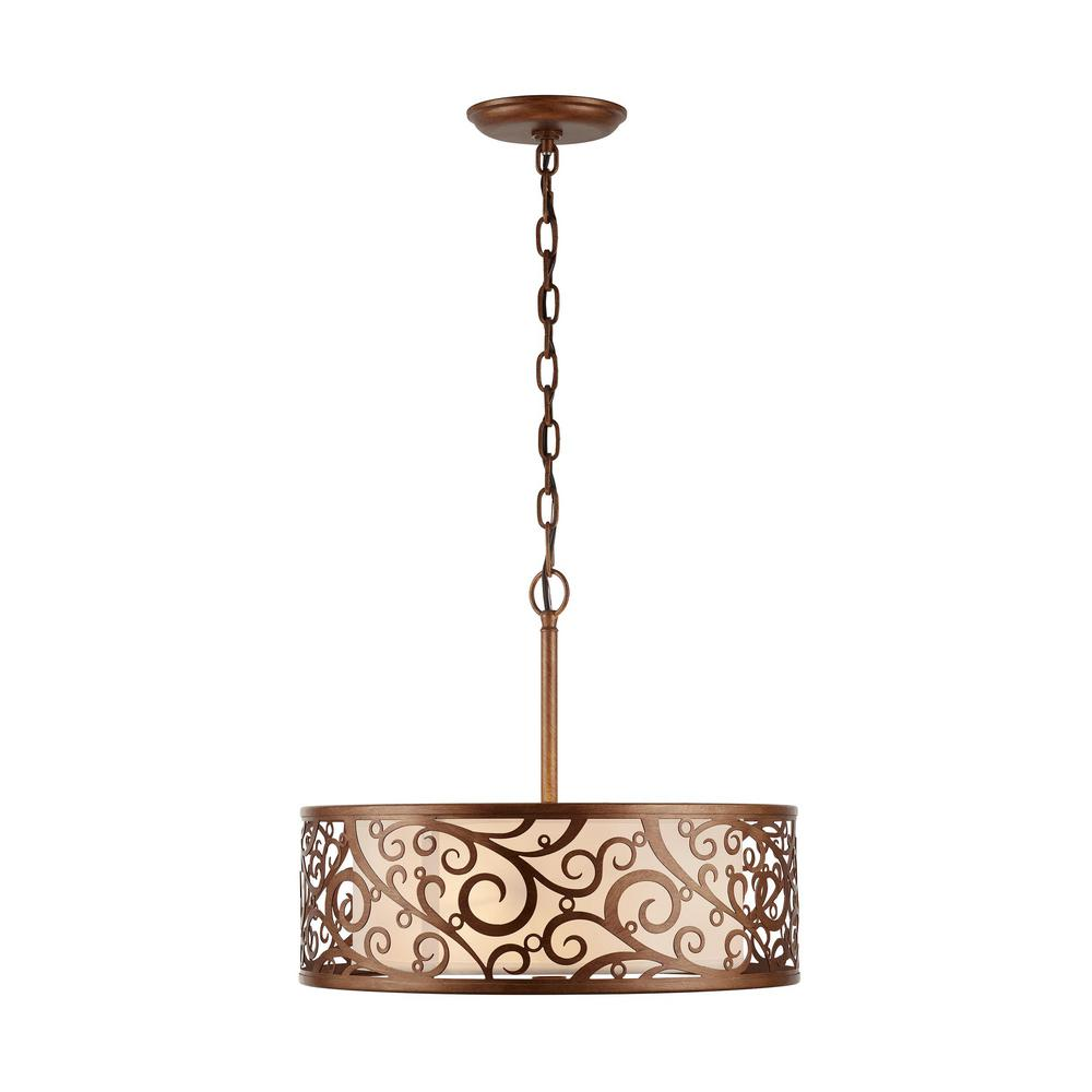 Home Decorators Collection Carousel 3-Light Burnished Gold Pendant with Frosted Glass Diffuser was $169.0 now $78.36 (54.0% off)