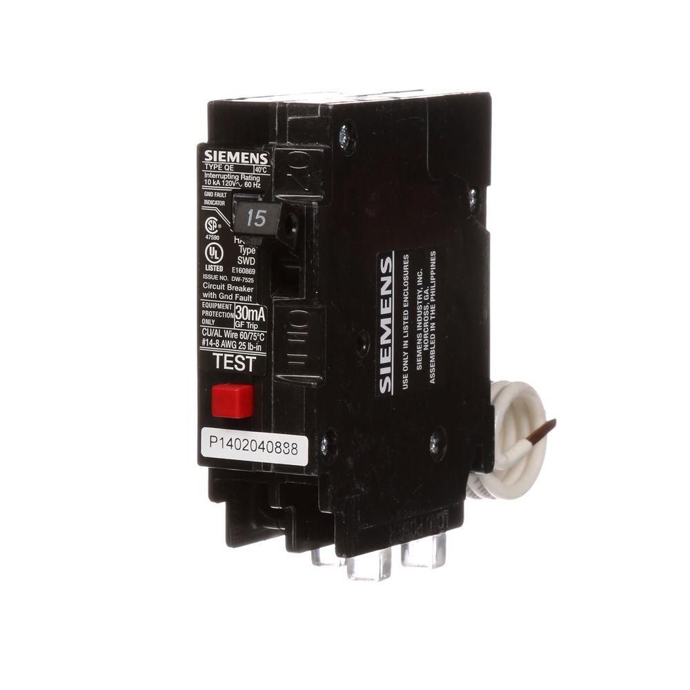 Siemens 15 Amp Single Pole Type Qe Ground Fault Equipment Protection Wiring Testing Electrical Circuits Circuit Breaker