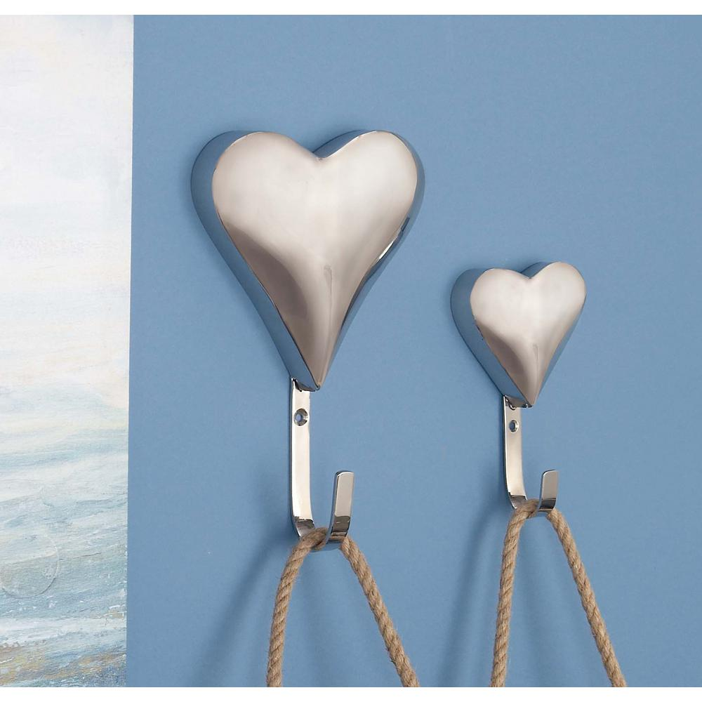 Silver Stainless Steel 3D Heart Wall Hooks (Set of 2)