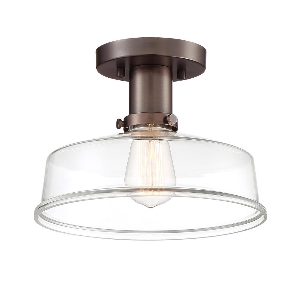 Carson 10.75 in. 1-Light Satin Copper Bronze Semi-Flush Mount