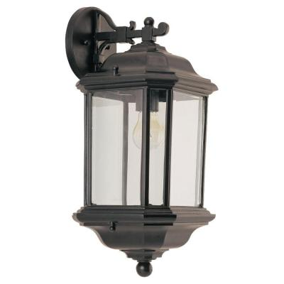 Kent 1-Light Black Outdoor 19.25 in. Wall Lantern Sconce