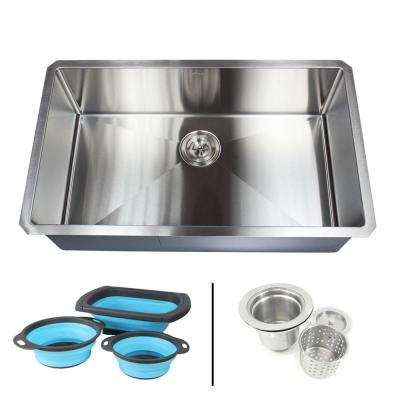 Undermount 16-Gauge Stainless Steel 32 in. x 19 in. x 10 in. Single Bowl Kitchen Sink Combo