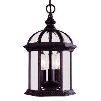 Textured Black 3-Light Hanging Lantern with Clear Beveled Glass