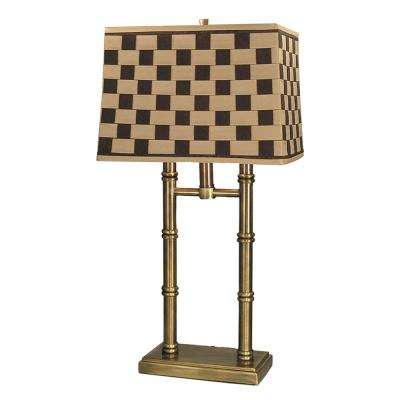 Laredo 25.5 in. Antique Brass Table Lamp with Fabric Shade
