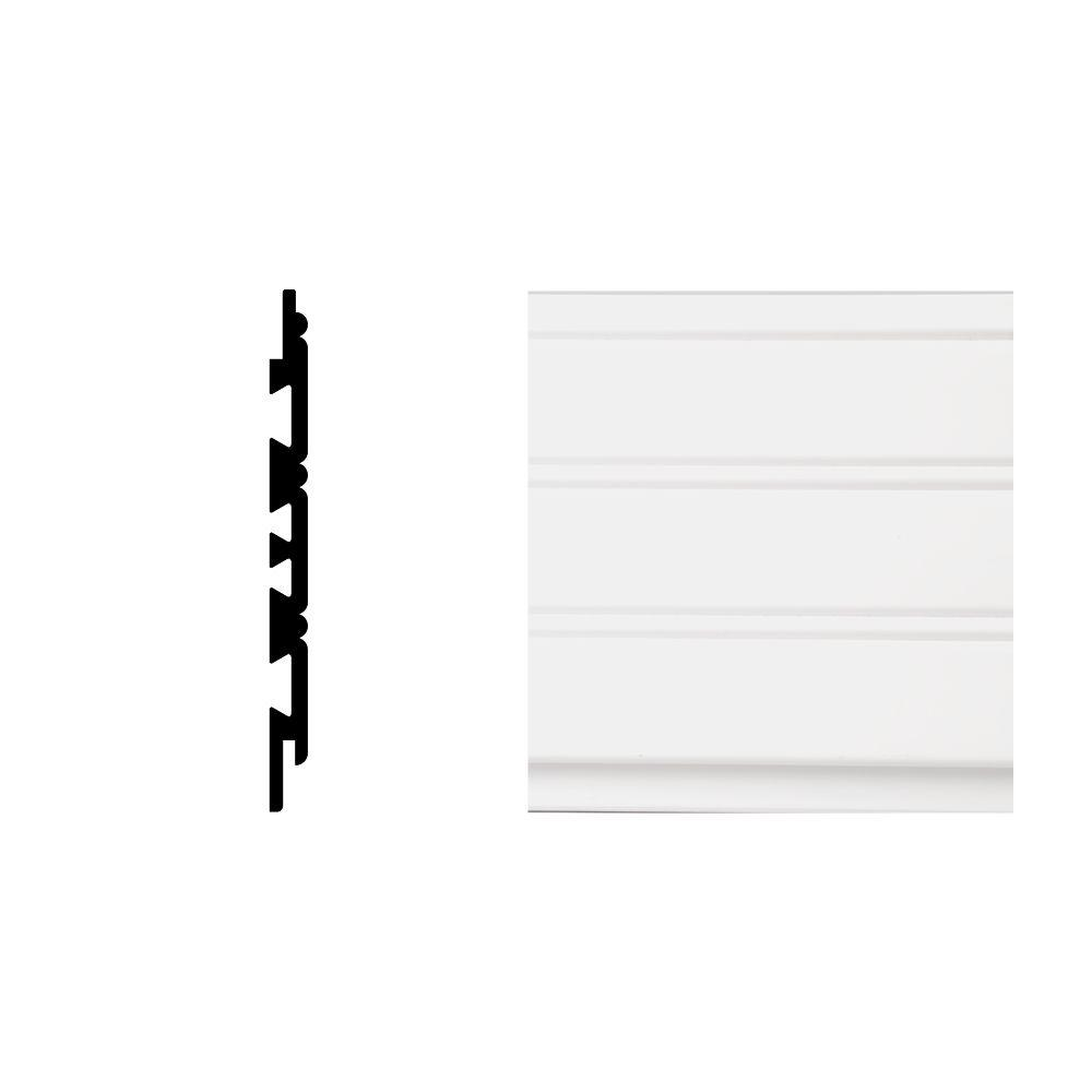 2352 3/8 in. x 5-1/2 in. x 8 ft. PVC Composite White Planking Moudling