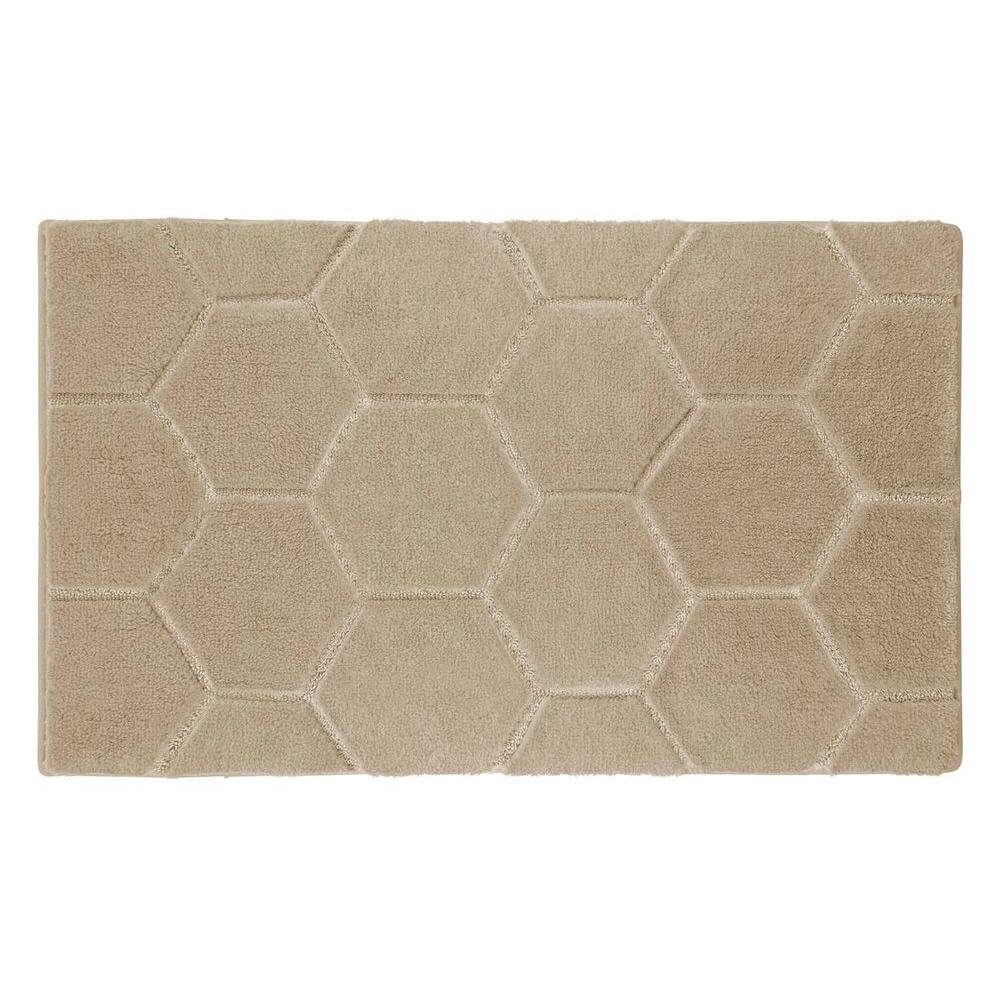 Pearl Honeycomb Berber 17 in. x 24 in. Bath Mat