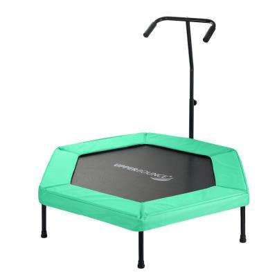 50 in. Hexagonal Fitness Mini-Trampoline with T-Shaped Adjustable Hand Rail and Bungee Cord Suspension in Green