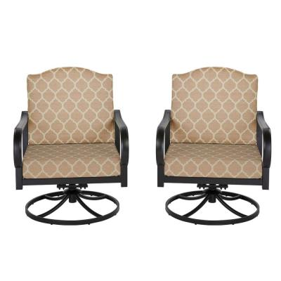 Laurel Oaks Brown Steel Outdoor Patio Lounge Chair with Cushion Guard Toffee Trellis Tan Cushions (2-Pack)
