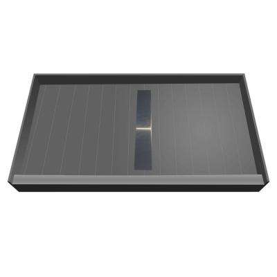 34 in. x 60 in. Single Threshold Shower Base with Center Drain and Solid Brushed Nickel Trench Grate