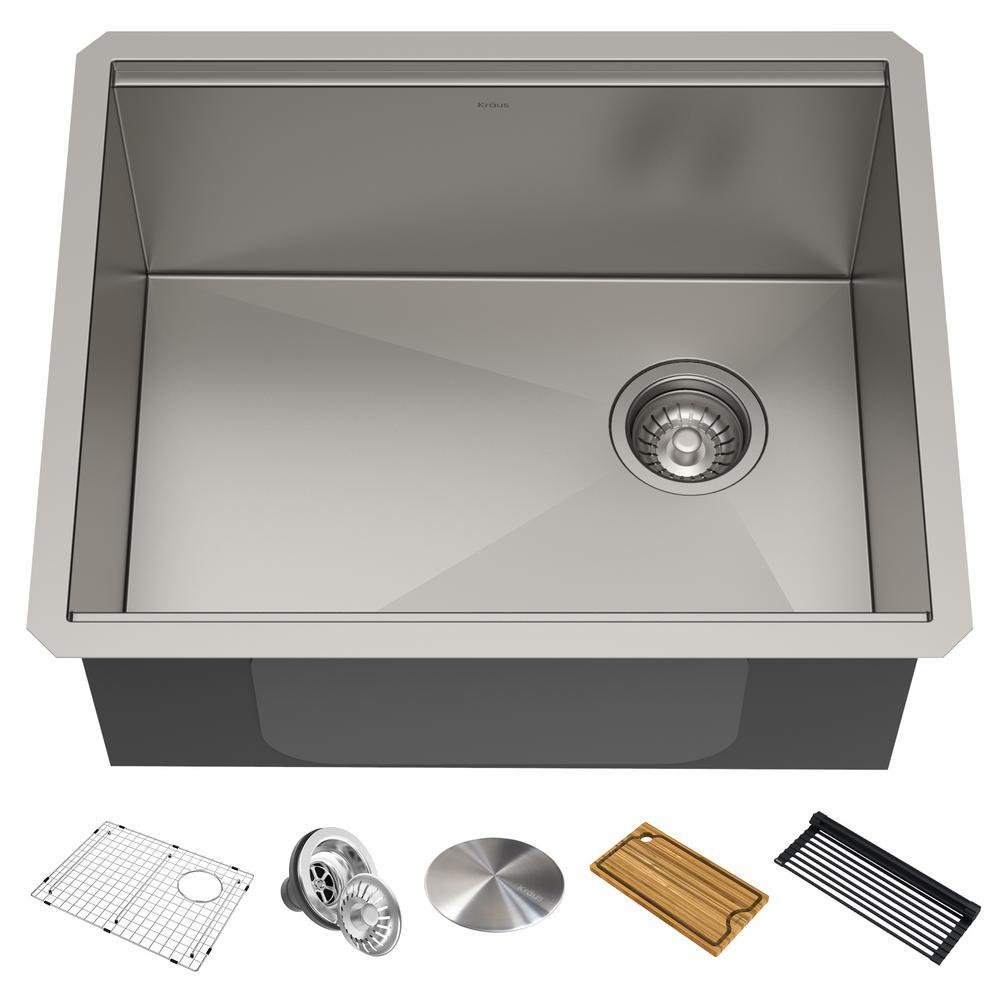 Kore Workstation 23 in. 16-Gauge Undermount Single Bowl Stainless Steel Kitchen Sink with Accessories
