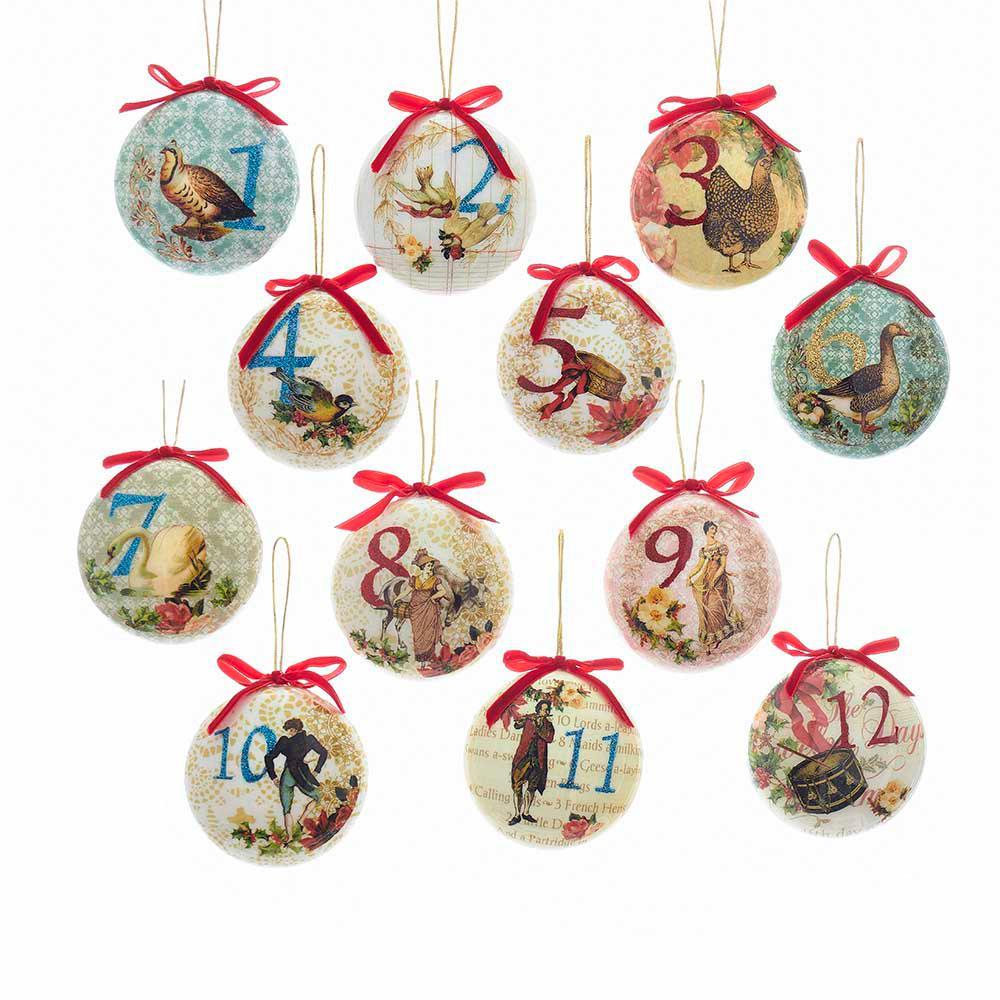 Kurt Adler 85mm Decoupage Ball Ornament Set of 12