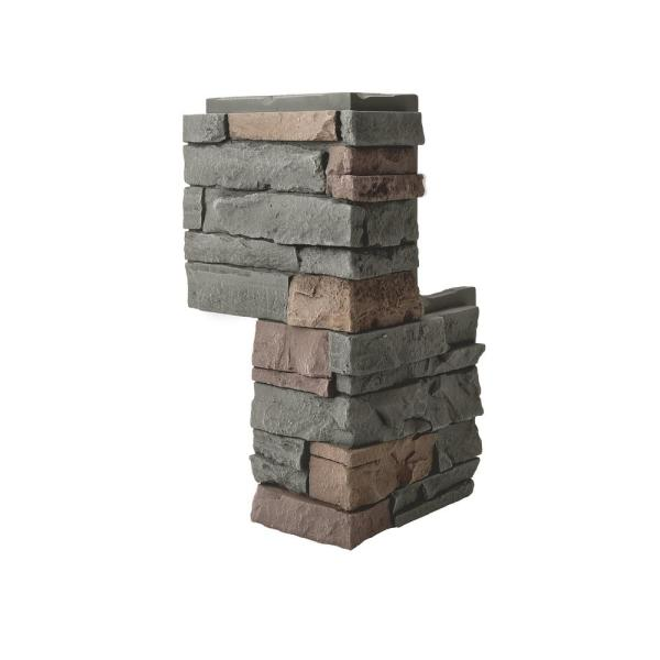 Stacked Stone Keystone 24 in. x 12 in. Faux Stone Siding Outside Corner Panel