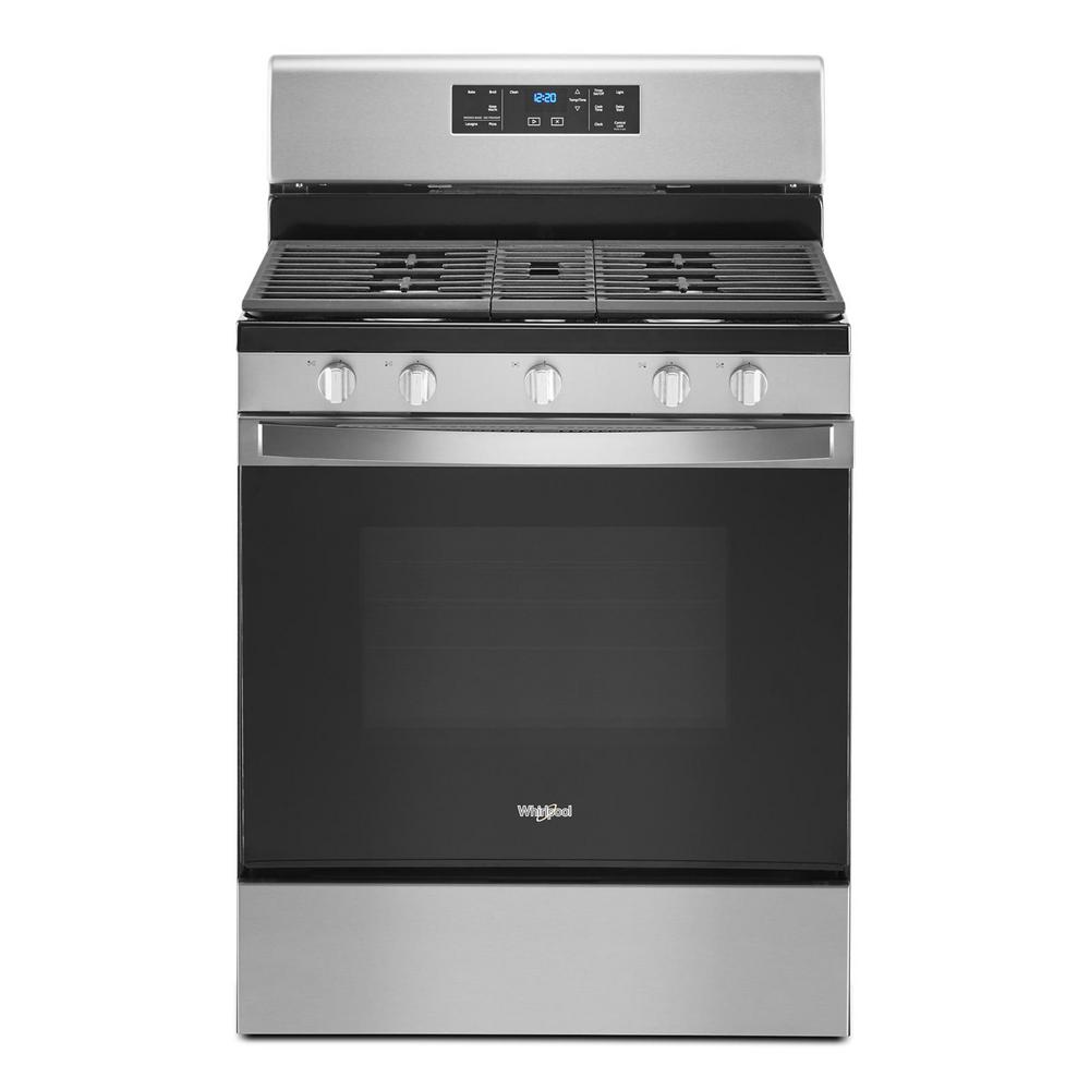 Whirlpool 5.0 cu. ft. Gas Range with Self Cleaning and Center Oval Burner in Stainless Steel