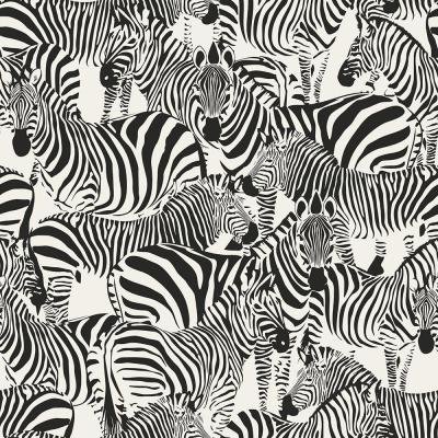 56.4 sq. ft. Jemima Black Zebra Strippable Wallpaper