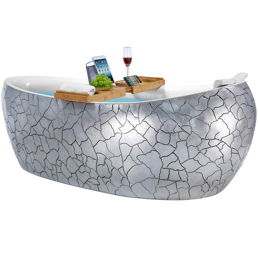 AKDY Freestanding 69 in. Acrylic Flatbottom Bathtub Modern Stand Alone Tub Luxurious SPA Tub in Cement Grey, Gloss Silver was $1999.0 now $1299.99 (35.0% off)