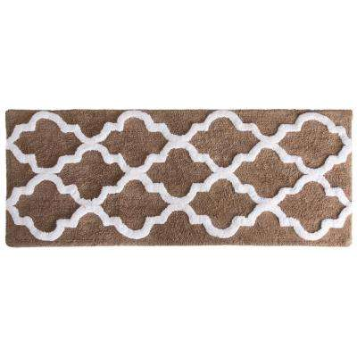 Trellis Taupe 24 in. x 60 in. Bathroom Mat