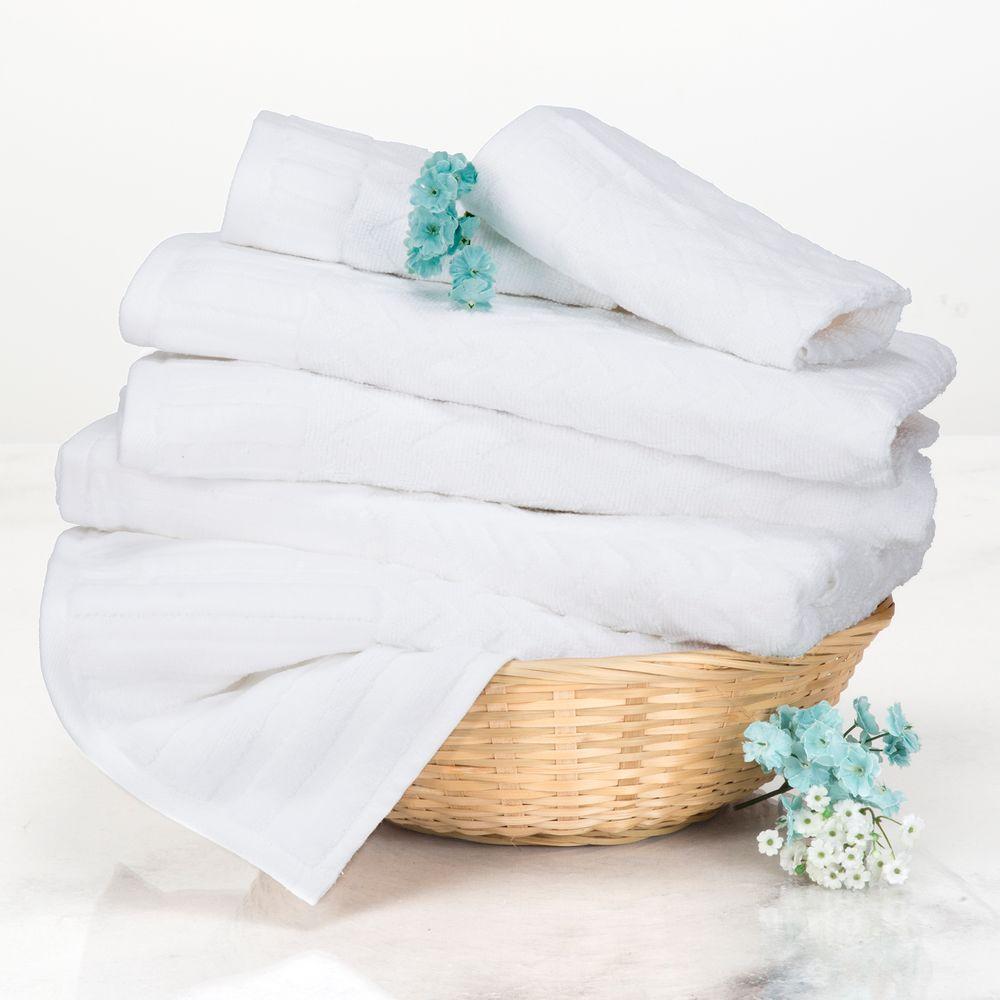 Lavish Home Chevron Egyptian Cotton Towel Set in White (6-Piece) 67-0020-W
