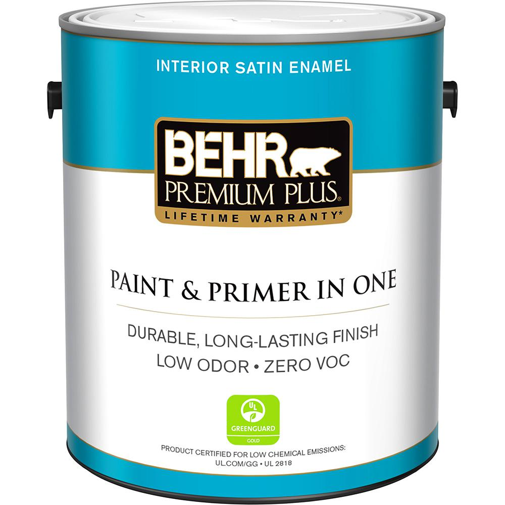 Paint And Primer >> Behr Premium Plus 1 Gal N520 2 Silver Bullet Satin Enamel Low Odor Interior Paint And Primer In One