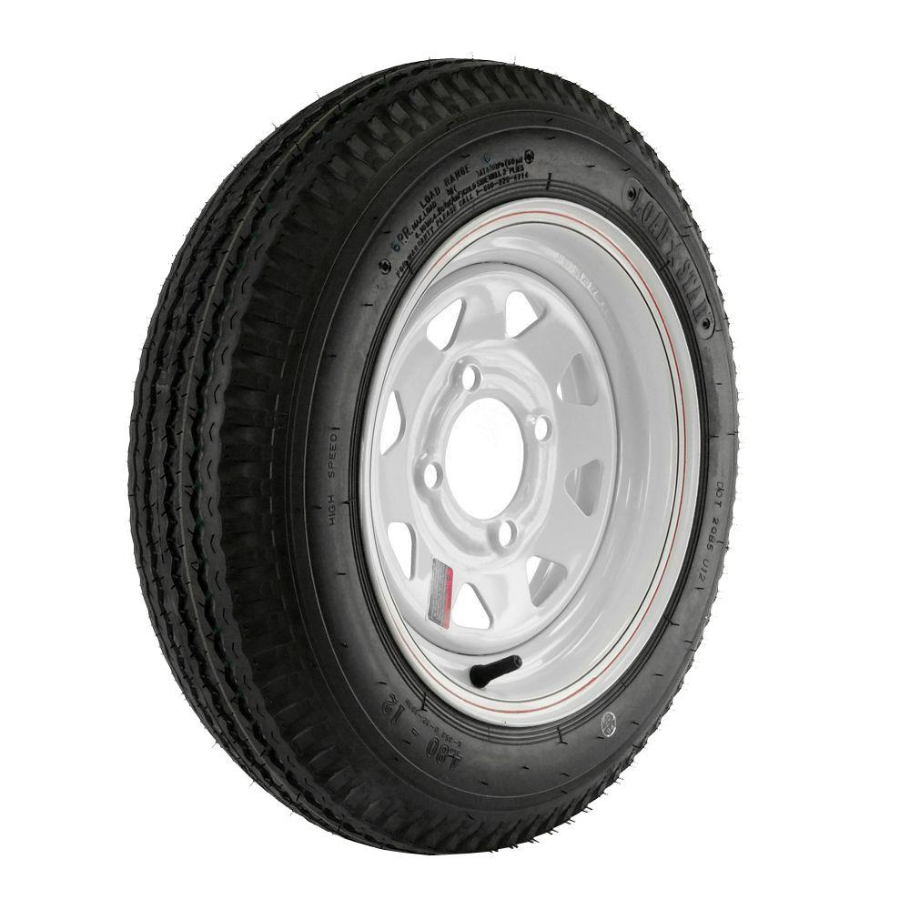 480-12 Load Range C 4-Hole Custom Spoke Trailer Tire and Wheel