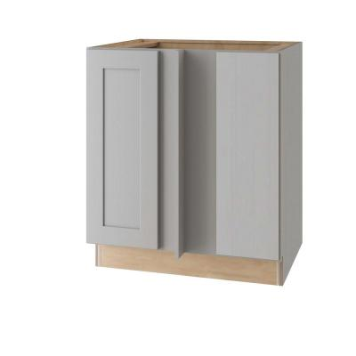 Tremont Assembled 39 x 34.5 x 24 in Plywood Shaker Blind Corner Base Kitchen Cabinet Lt Soft Close in Painted Pearl Gray
