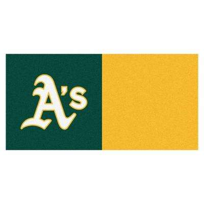 MLB - Oakland Athletics Green and Yellow Nylon 18 in. x 18 in. Carpet Tile (20 Tiles/Case)