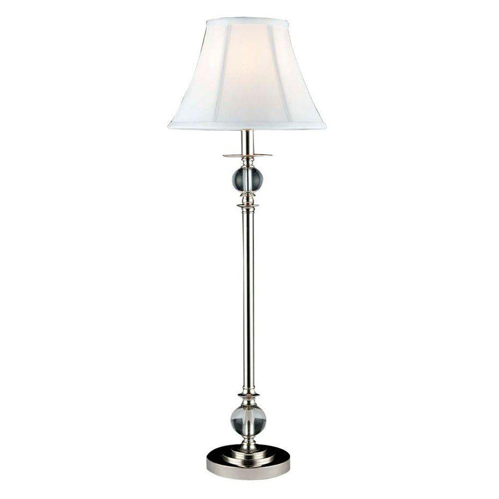 32 in. Polished Chrome Buffet Lamp with Crystal Shade