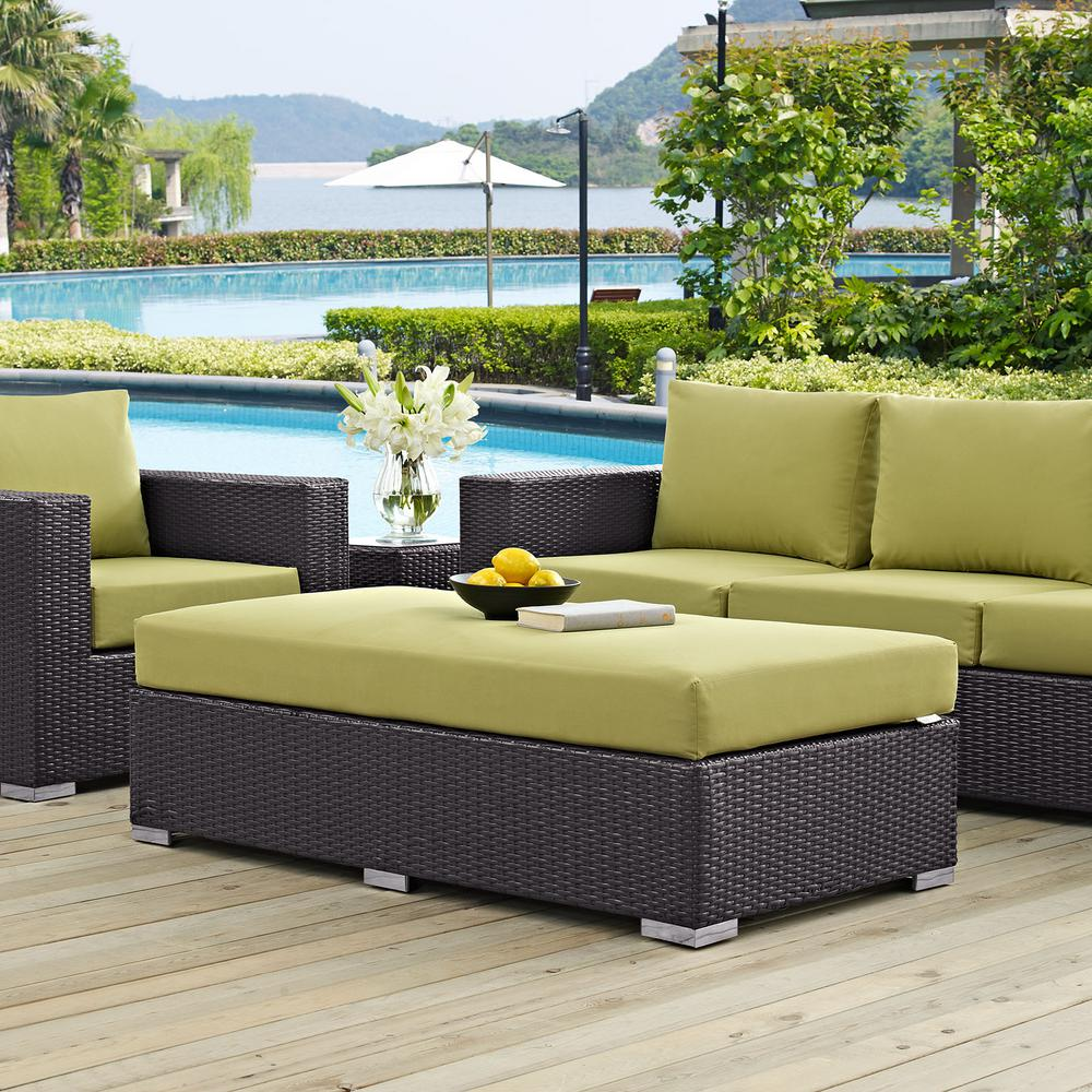 Convene Wicker Outdoor Patio Fabric Rectangle Ottoman in Espresso with Peridot