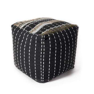 Black and White Pulse 18 in. x 18 in. Accent Pouf