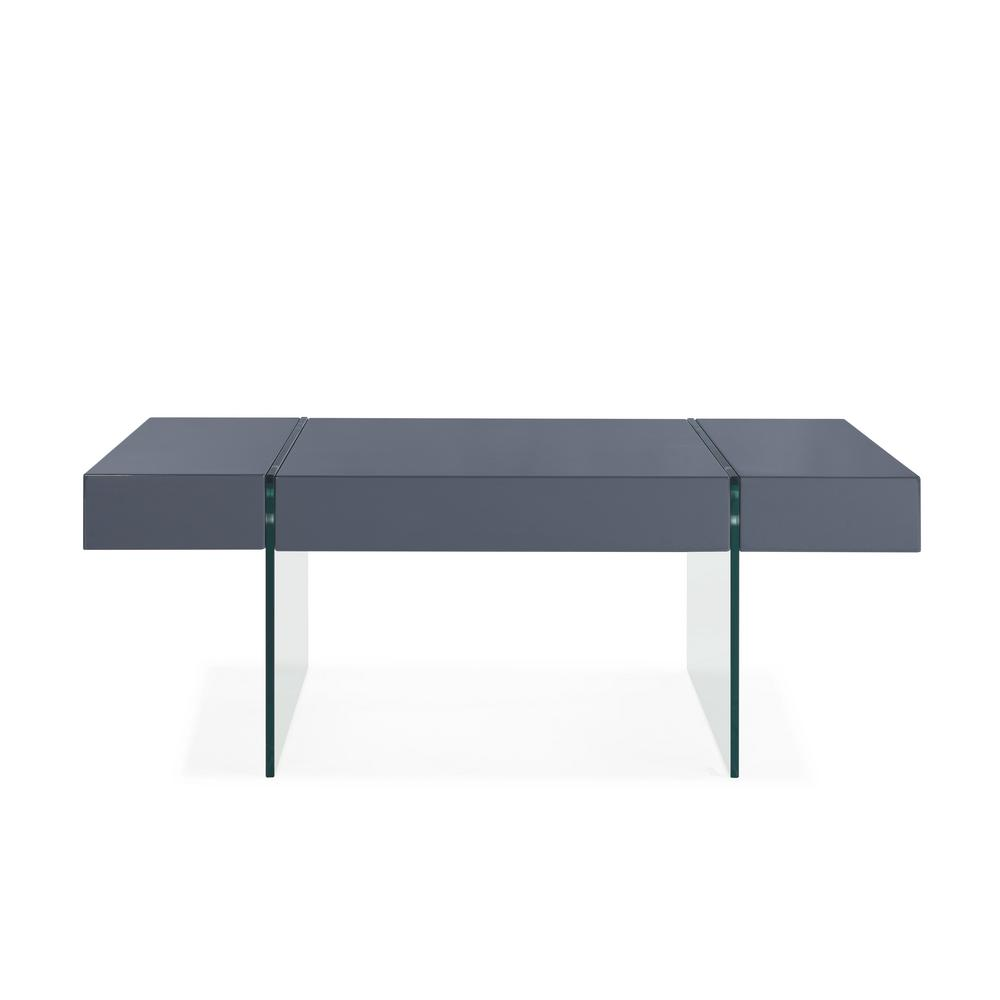 Handy Living Rubi Gray Rectangular Cocktail Table With Clear Tempered Glass  Panel Legs
