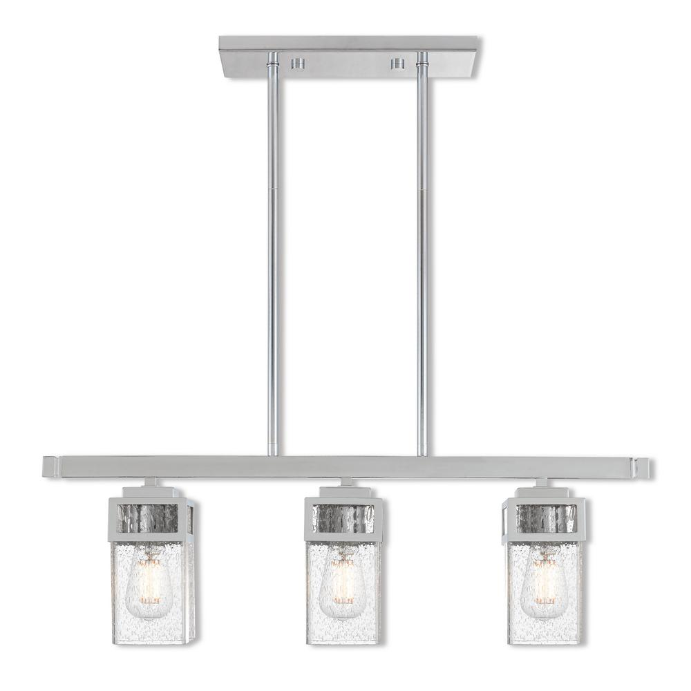 Harding 3-Light Polished Chrome Linear Chandelier with Hand Blown Clear Seeded