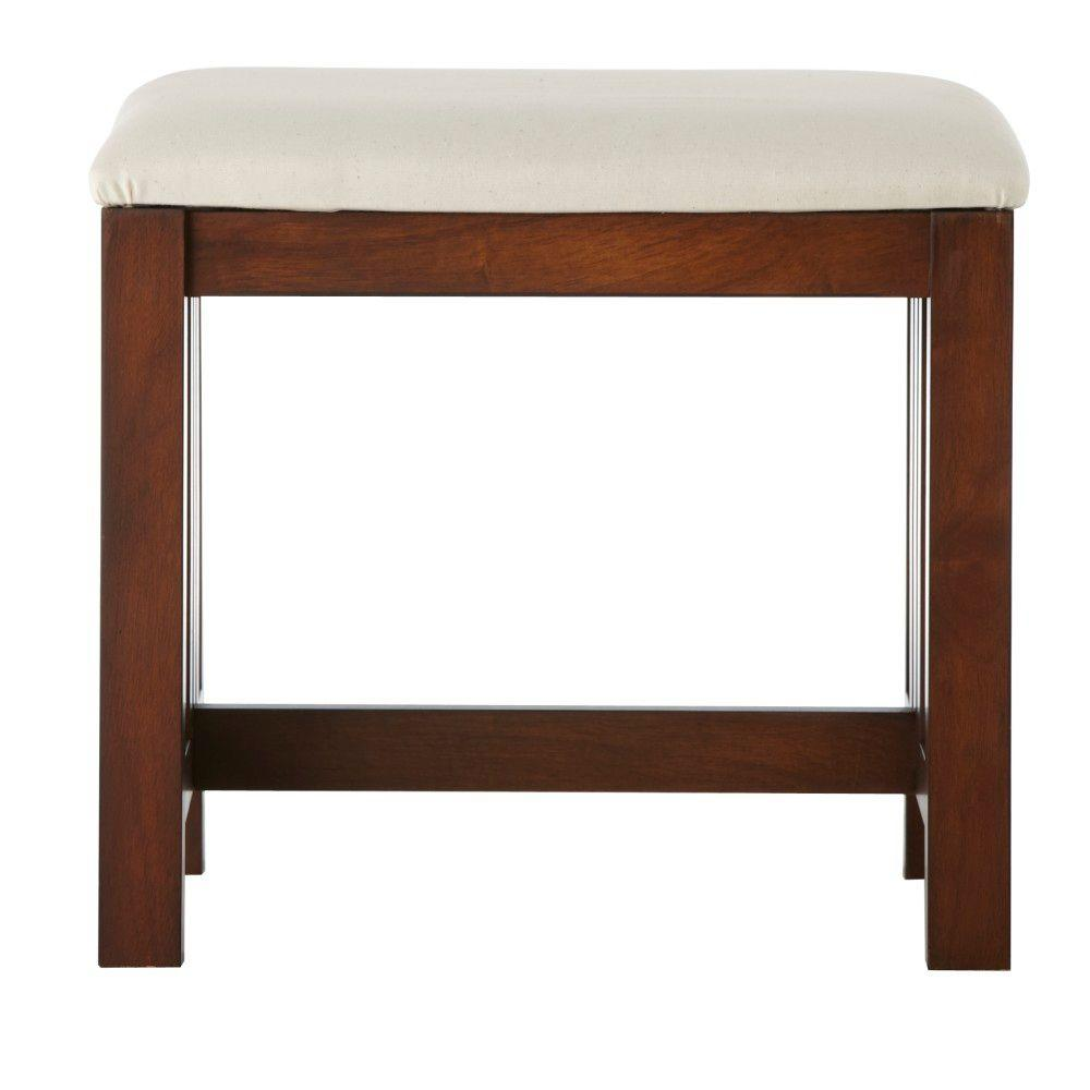 Home Decorators Collection Abigail's Mission 21 in. W Chestnut Vanity Bench