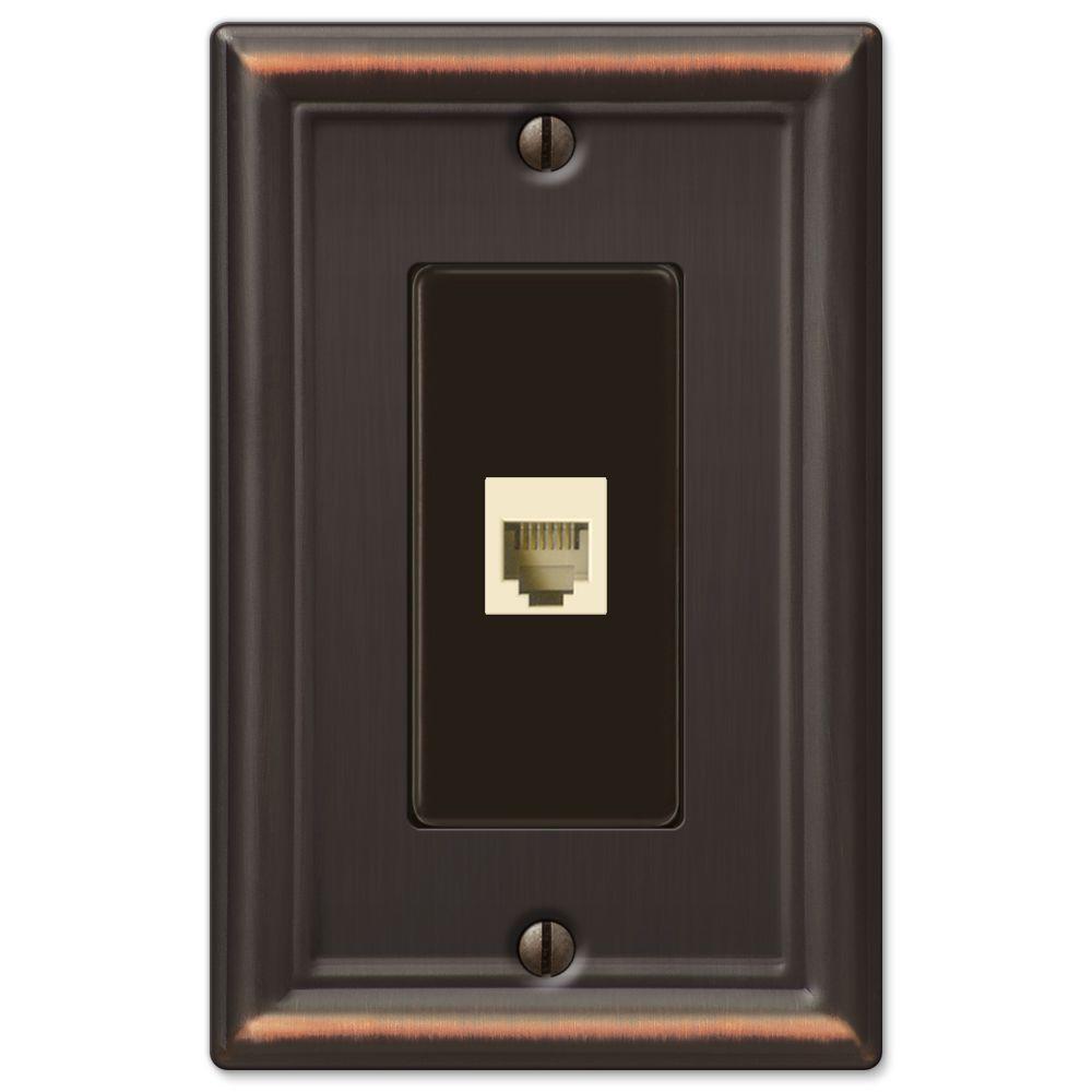 Ascher Steel 1 Phone Wall Plate - Aged Bronze