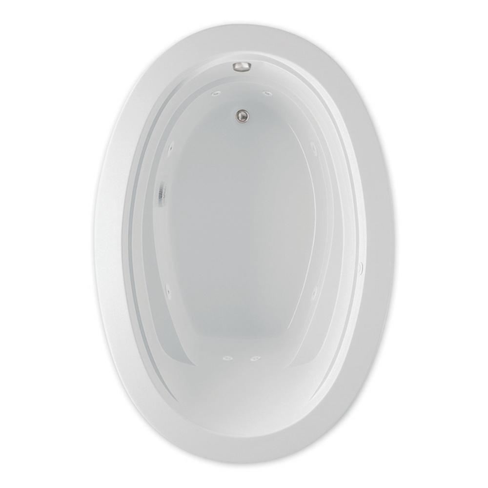 Belmont II 6 ft. Acrylic Universal Drain Oval Drop-in Whirlpool Bathtub