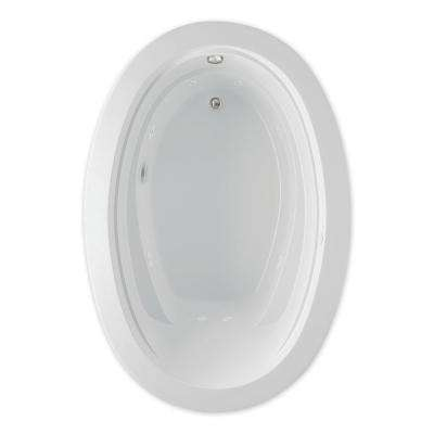Belmont II 72 in. Acrylic Reversible Drain Oval Drop-In Whirlpool Bathtub in White