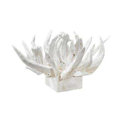 Chinook 28 in. x 14 in. Wooden Decorative Sculpture In White