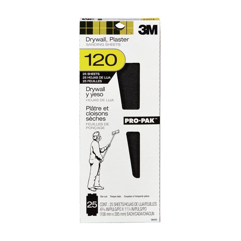 3M Pro-Pak 4-3/16 in. x 11-1/4 in. 120 Grit Fine Drywall Sanding Sheet (25-Pack)
