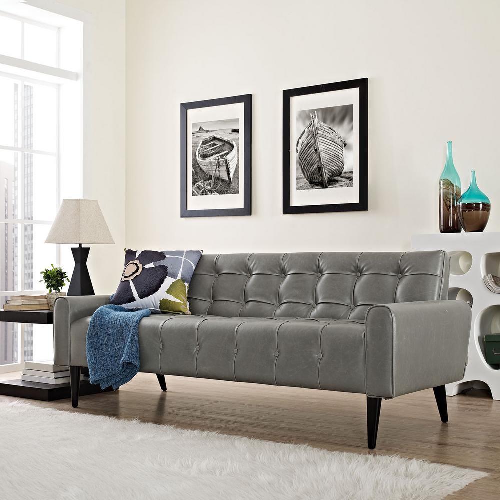 MODWAY Delve Gray Upholstered Vinyl Sofa