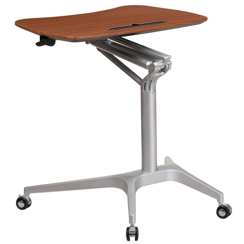 28.3 in. Rectangular Mahogany Laptop Desks with Adjustable Height