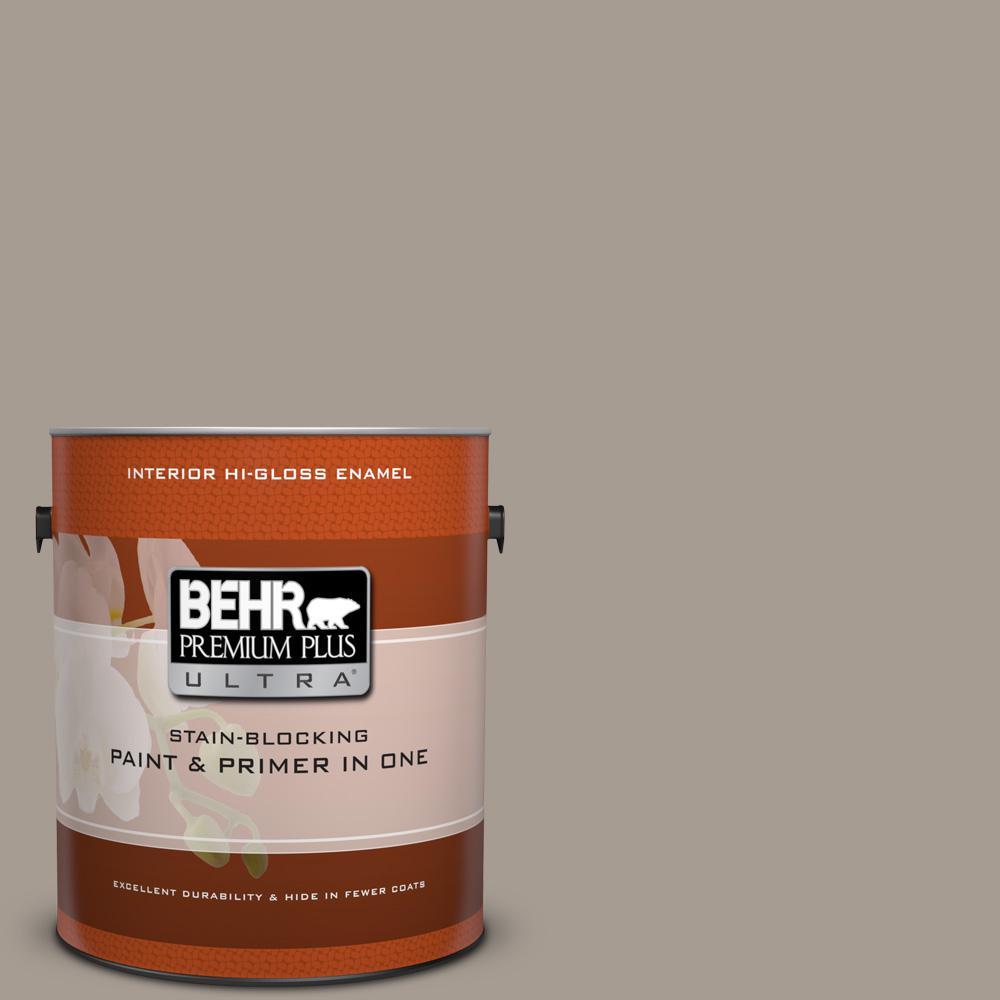 1 gal. #N200-4 Rustic Taupe Hi-Gloss Enamel Interior Paint