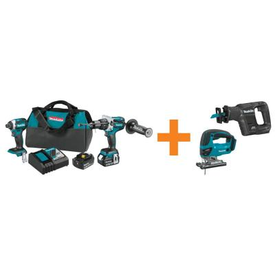 18-Volt LXT Brushless Cordless 2-Piece Combo Kit with Bonus 18V LXT Brushless Recipro Saw and 18V LXT Cordless Jig Saw