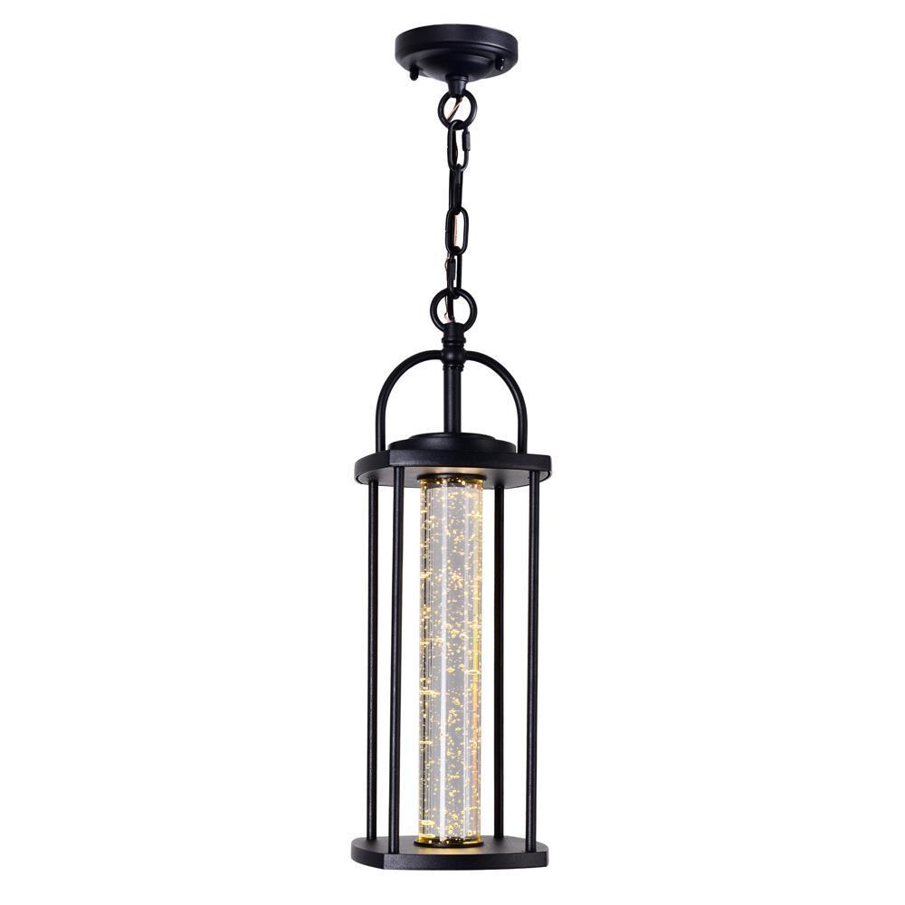 1-Light Black LED Outdoor Pendant Light