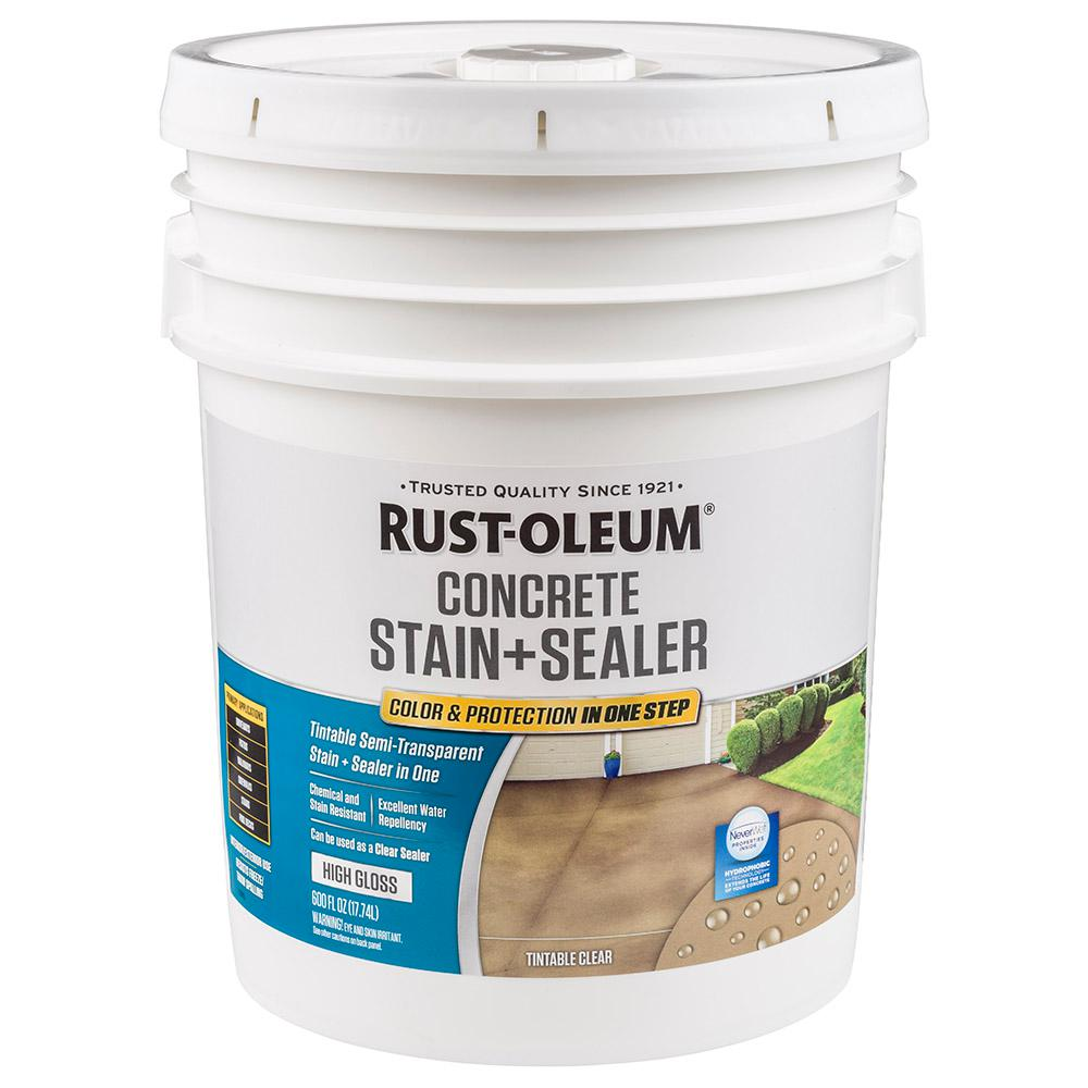 Rust Oleum 5 Gal Clear High Gloss Concrete Water Repellent Sealer 310425 The Home Depot